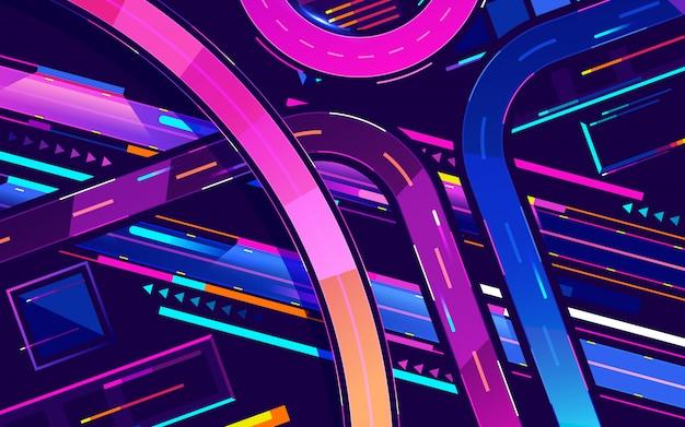 Colori al neon dell'autostrada senza pedaggio di notte della metropoli, vettore del fumetto di vista superiore Vettore Premium