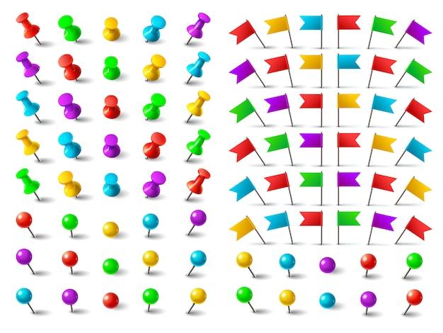Colori puntina, bandiera appuntata per la navigazione e puntina a distanza. Vettore Premium
