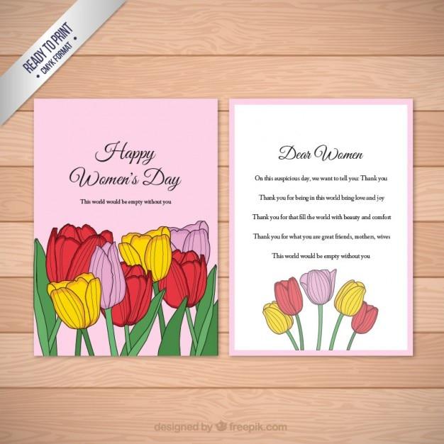 Colori tulipani carta il giorno delle donne Vettore gratuito