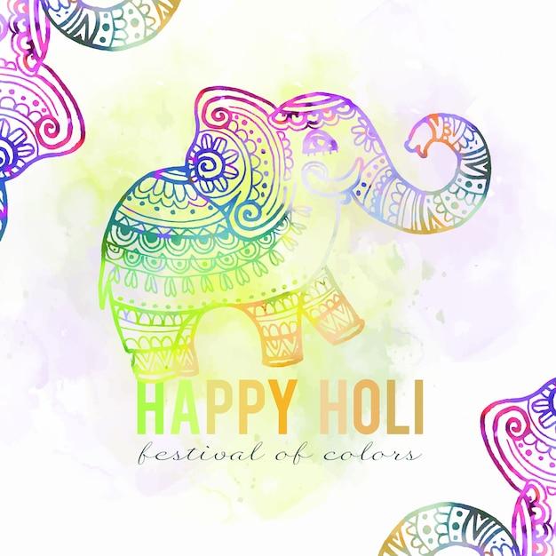 Colori vivaci dell'acquerello holi festival gradiente elefante Vettore gratuito