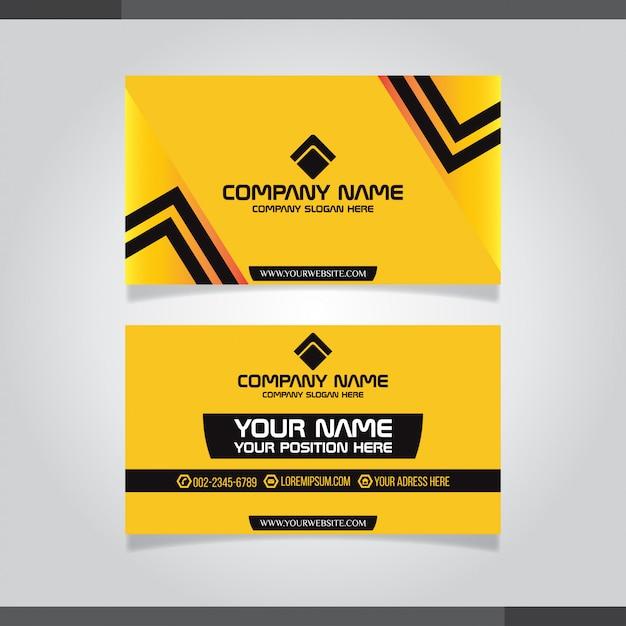 Colori yelllow modello di biglietto da visita moderno Vettore Premium