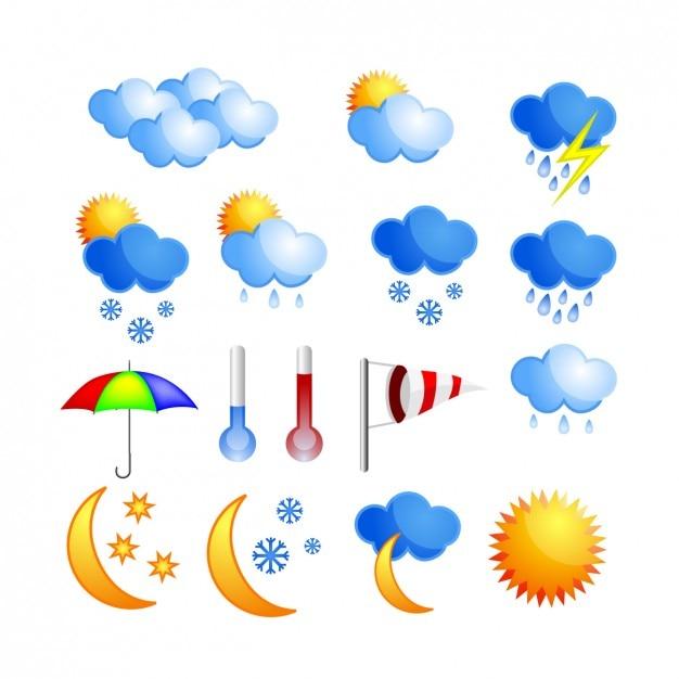 Coloure icone meteo Vettore gratuito