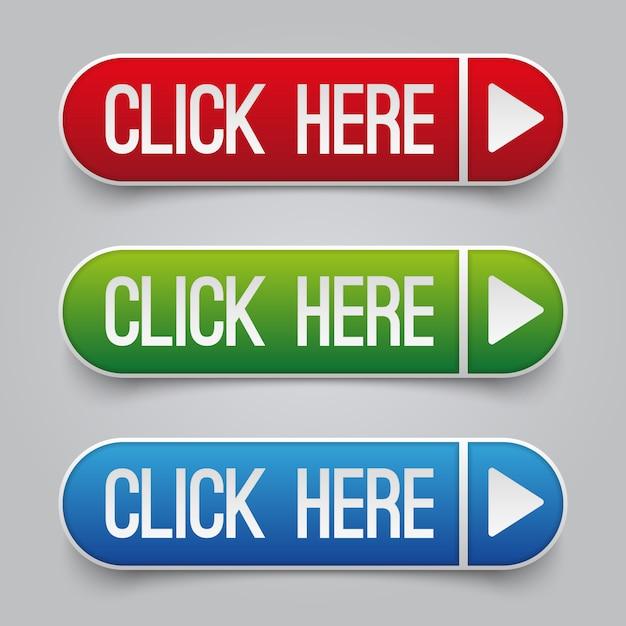 Colourful clicchi qui i bottoni di vettore di web messi. pulsante web fai clic qui per l'illustrazione di navigazione del sito web Vettore Premium