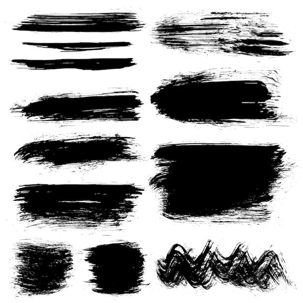 Colpi pennelli dipinti a mano neri Vettore gratuito