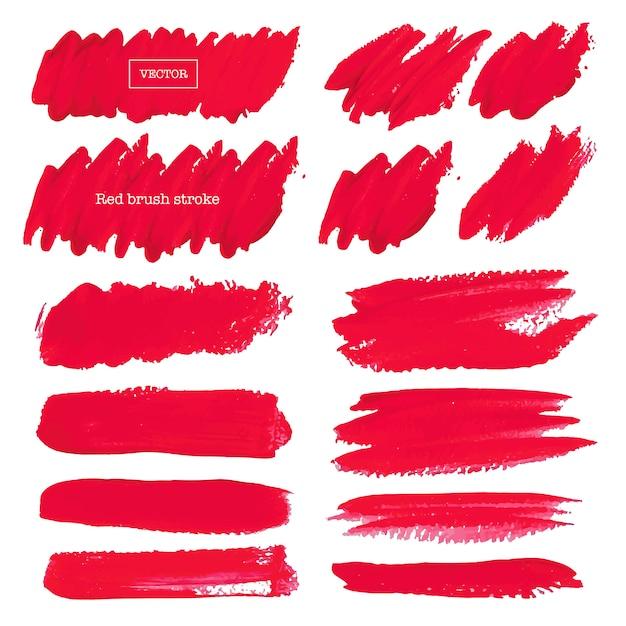 Colpo rosso della spazzola isolato su fondo bianco, illustrazione di vettore. Vettore Premium