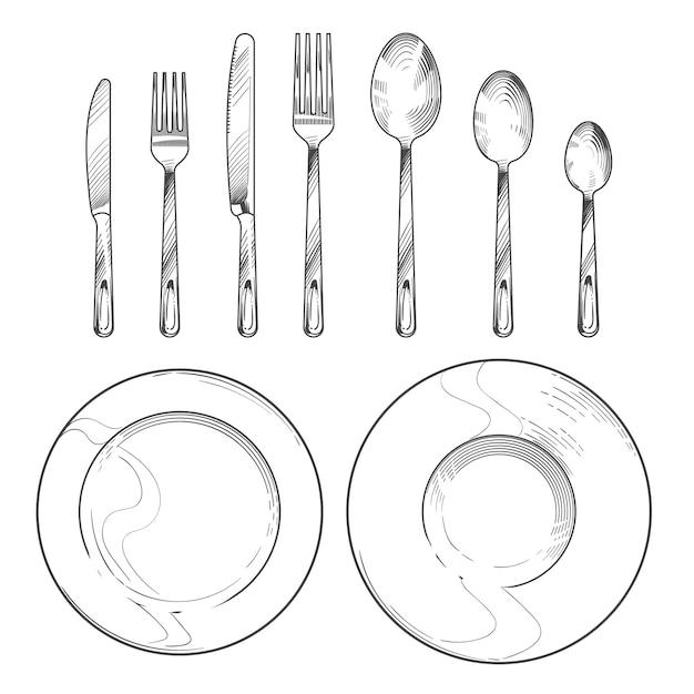 Coltello vintage, forchetta, cucchiaio e piatti in stile incisione schizzo. insieme isolato stoviglie di disegno a mano Vettore Premium