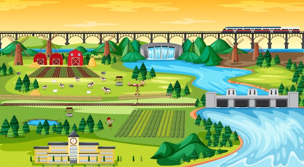 Coltivi la città del campo e la scuola e il treno di alianti del ponte con stile del fumetto di scena del paesaggio del lato della diga Vettore Premium
