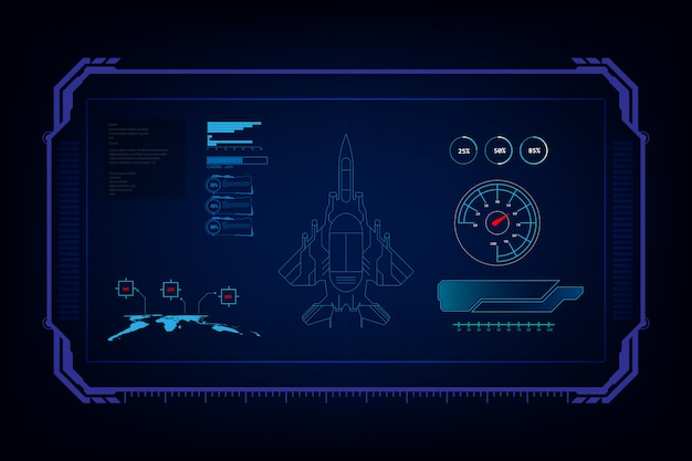 Combattente jet futuristico con interfaccia grafica gui Vettore Premium