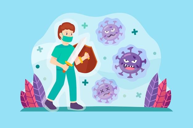 Combatti il concetto di virus Vettore gratuito