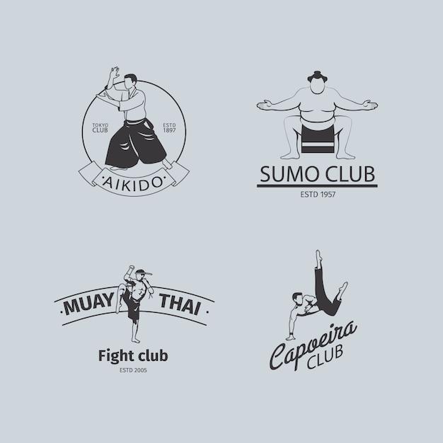 Combatti il logo del club o il set di emblemi mma Vettore Premium