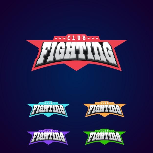 Combatti l'emblema del club. logo sportivo di arti marziali miste Vettore Premium