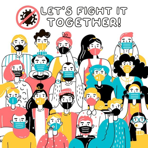 Combattiamolo insieme. illustrazione di uomini e donne, uomini e donne che indossano maschere mediche che si proteggono dal virus Vettore Premium