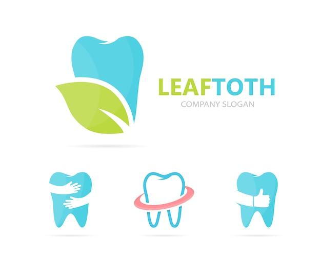 Combinazione logo dente e foglia. Vettore Premium