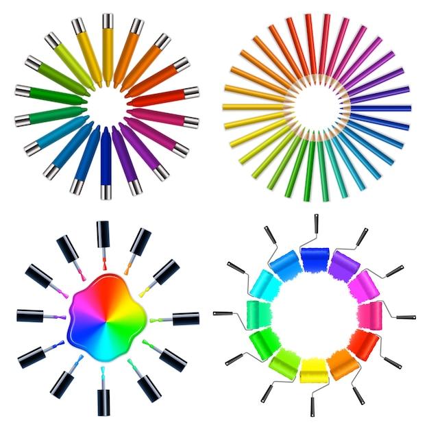 Combinazioni di colori oggetti d'arte Vettore gratuito