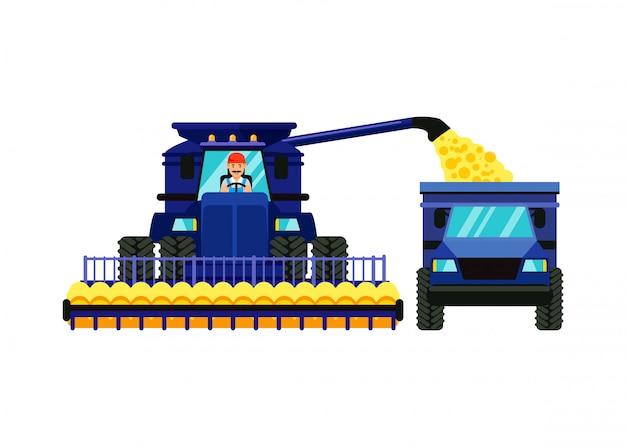 Combine harvester cartoon vector illustration Vettore Premium