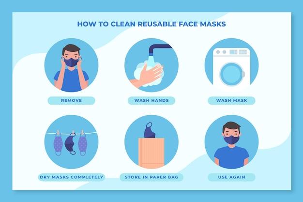 Come pulire le maschere riutilizzabili infografica Vettore gratuito