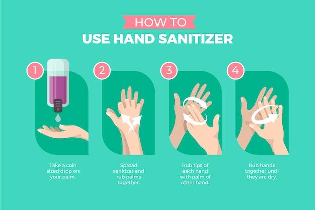 Come usare il tutorial disinfettante per le mani Vettore gratuito