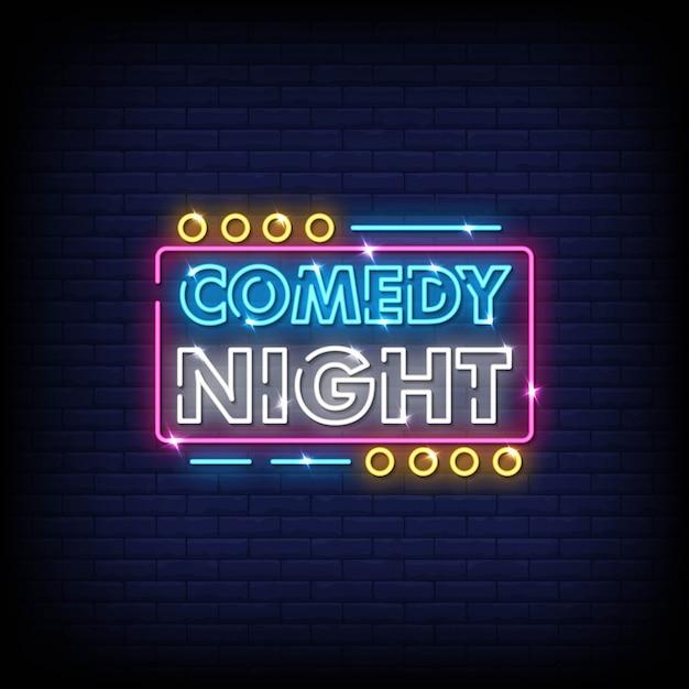 Comedy night neon signs style text Vettore Premium