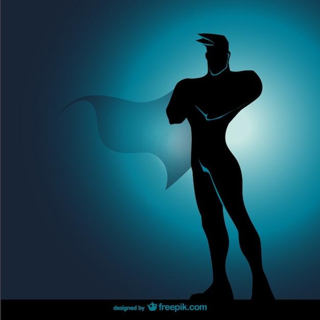 Comic supereroe silhouette in piedi Vettore gratuito