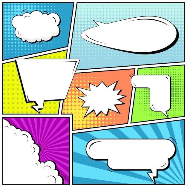 Comico pop art stile sfondo bianco. Vettore Premium