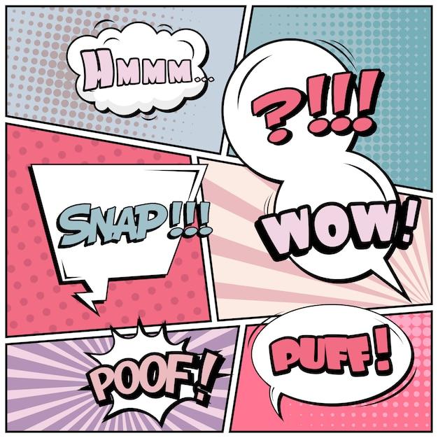 Comico sfondo stile pop art. Vettore Premium