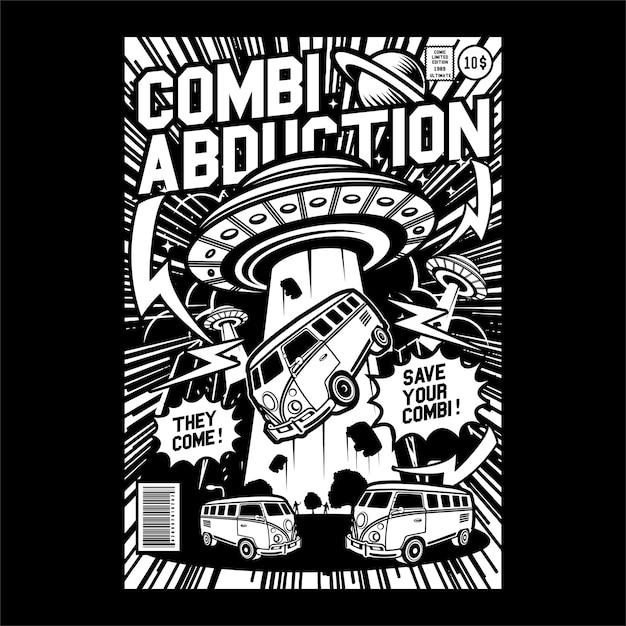 Comics abduction comic cover art Vettore Premium