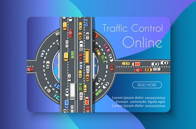 Commercio di concetto di trasporto online di controllo del traffico Vettore Premium
