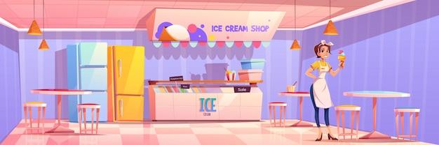 Commessa in gelateria o salone o bar Vettore gratuito