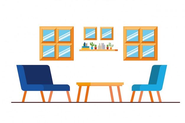 Comodo divano nel soggiorno Vettore Premium