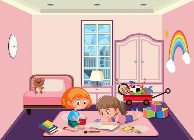 Compagno di stanza che gioca in camera da letto Vettore Premium