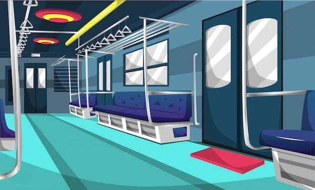 Compartimento ferroviario della linea del pendolare del treno Vettore Premium
