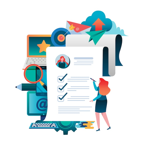Compilare un documento. applicazione in linea. Vettore Premium