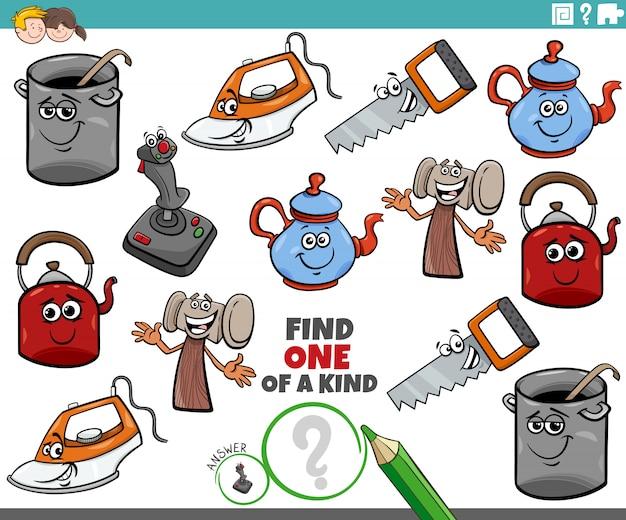 Compito unico per i bambini con oggetti comici Vettore Premium