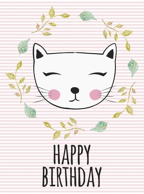 Compleanno del gattino Vettore Premium