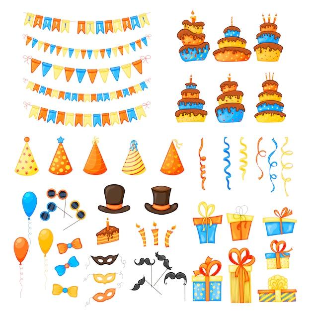 Compleanno impostato con articoli per le vacanze su uno sfondo bianco Vettore Premium