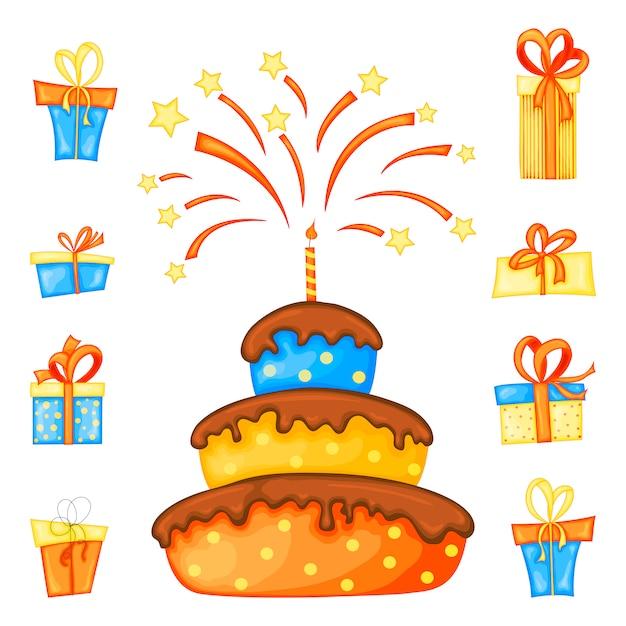 Compleanno impostato per biglietto di auguri o volantino con torta e scatole regalo che giocano dolcetto o scherzetto a halloween Vettore Premium