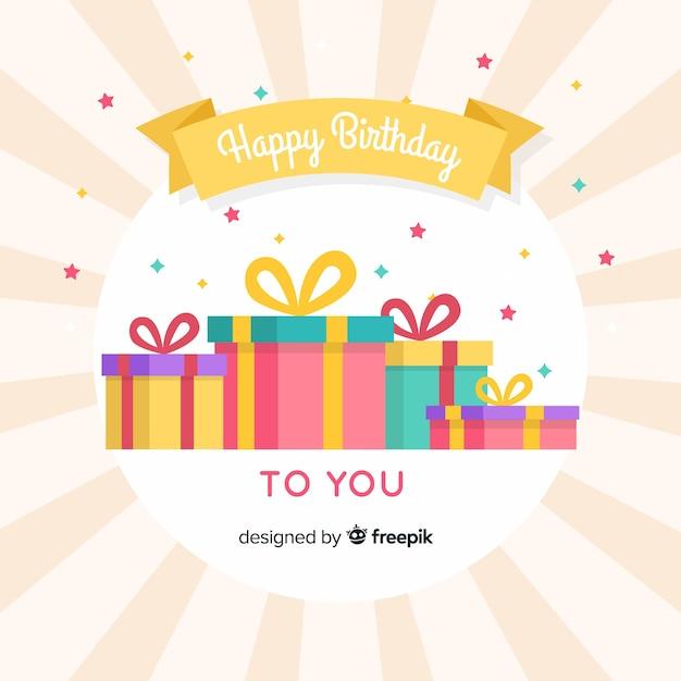 Compleanno piatto presenta sfondo Vettore gratuito