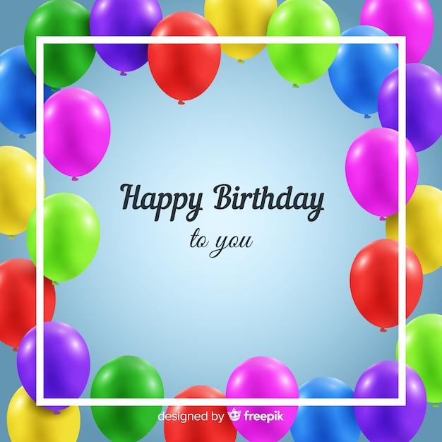 Compleanno realistico con sfondo di palloncini Vettore gratuito