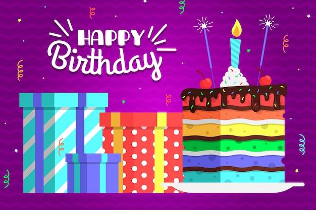 Compleanno sfondo colorato Vettore gratuito