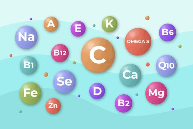 Complesso essenziale di vitamine e minerali Vettore gratuito