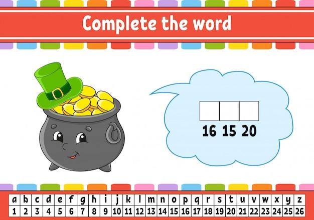 Completa le parole. codice cifrato. imparare vocabolario e numeri. pentola d'oro con cappello. Vettore Premium