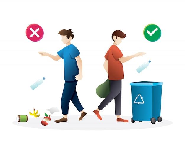 Comportamento corretto e sbagliato dei rifiuti sporchi Vettore Premium