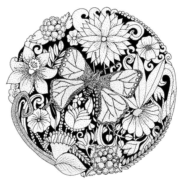 Composizione arrotondata disegnata a mano con fiori, farfalla, foglie. design della natura per il relax, la meditazione. illustrazione vettoriale in bianco e nero Vettore gratuito
