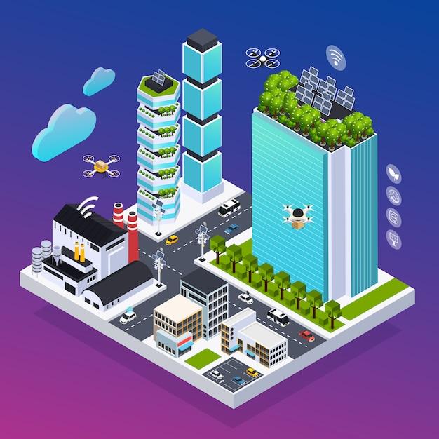 Composizione astuta nella città con tecnologia eco, illustrazione isometrica di vettore Vettore gratuito