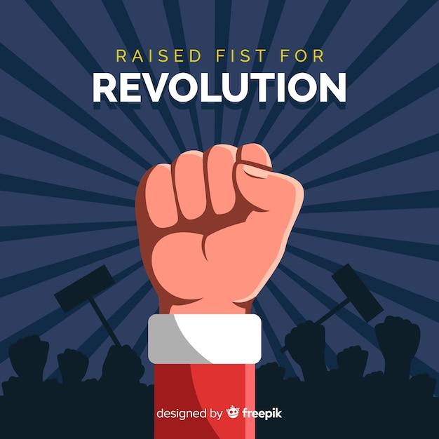 Composizione classica di rivoluzione con pugno alzato Vettore gratuito