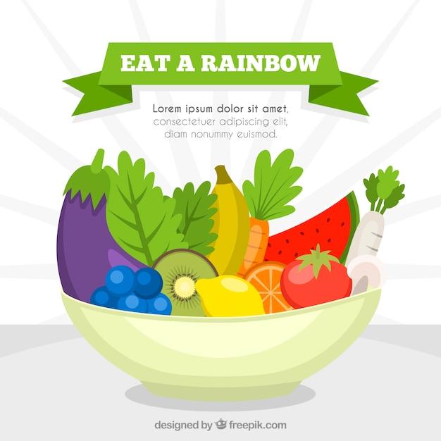 Composizione colorata con cibo sano Vettore gratuito