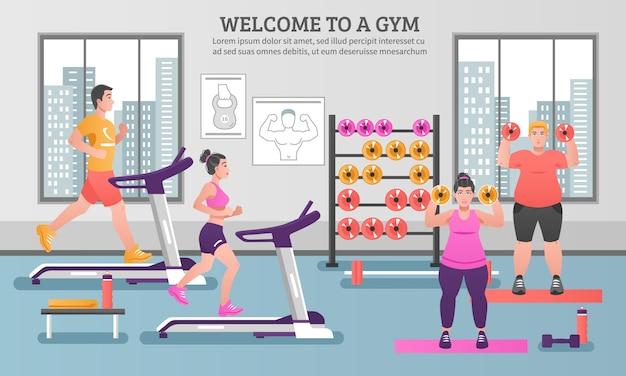 Composizione colorata fitness Vettore gratuito