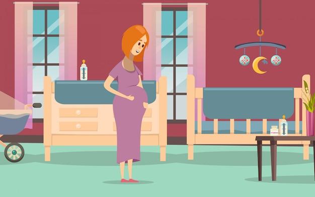 Composizione colorata in gravidanza Vettore gratuito