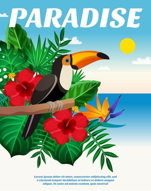 Composizione colorata tropicale Vettore gratuito