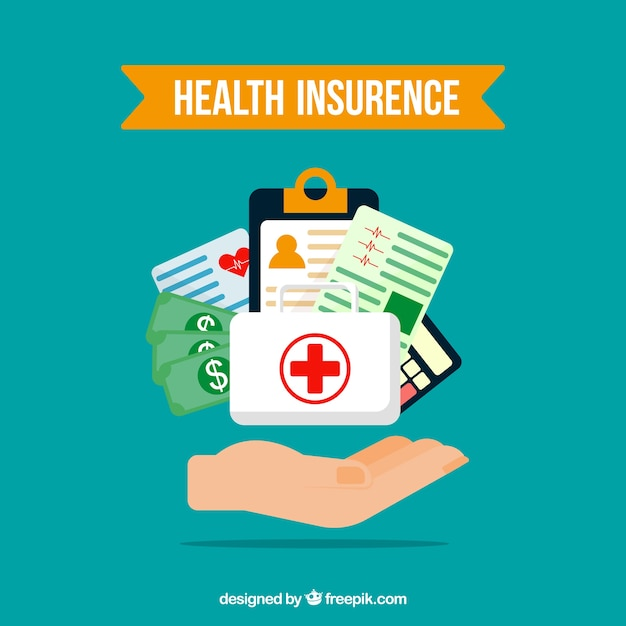 Composizione con elementi di assicurazione sanitaria e mano Vettore gratuito
